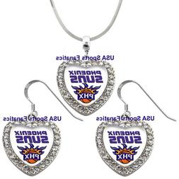 Phoenix Suns 925 Necklace/ Earrings or Set Team Heart With R